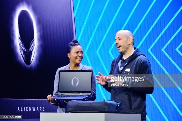 Actress and director Aisha Tyler and Frank Azor Vice President General Manager of Alienware helps Dell kick off CES 2019 at their press conference...