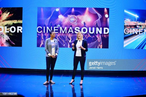 Actress and director Aisha Tyler and Gerri Tunnell SVP Global Consumer Small Business Marketing for Dell helps Dell kick off CES 2019 at their press...