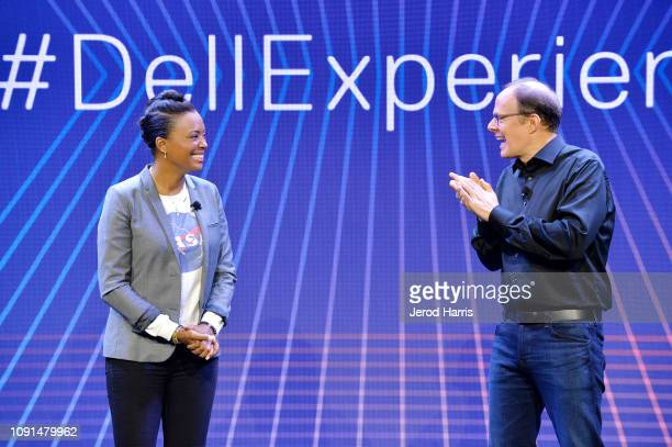 Actress and director Aisha Tyler and Sam Burd President Client Solutions Group at Dell helps Dell kick off CES 2019 at their press conference...