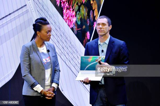 Actress and director Aisha Tyler and Senior Principal Industrial Designer Josh Probs help Dell kick off CES 2019 at their press conference unveiling...