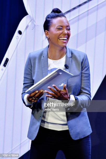 Actress and director Aisha Tyler helps Dell kick off CES 2019 at their press conference unveiling their latest lineup of award winning gaming and PC...