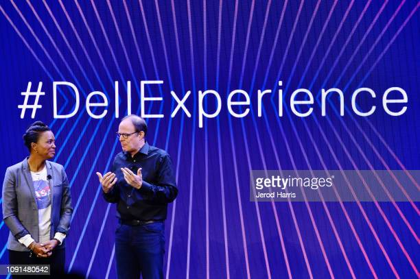 Actress and director Aisha Tyler Sam Burd President Client Solutions Group at Dell help Dell kick off CES 2019 at their press conference unveiling...