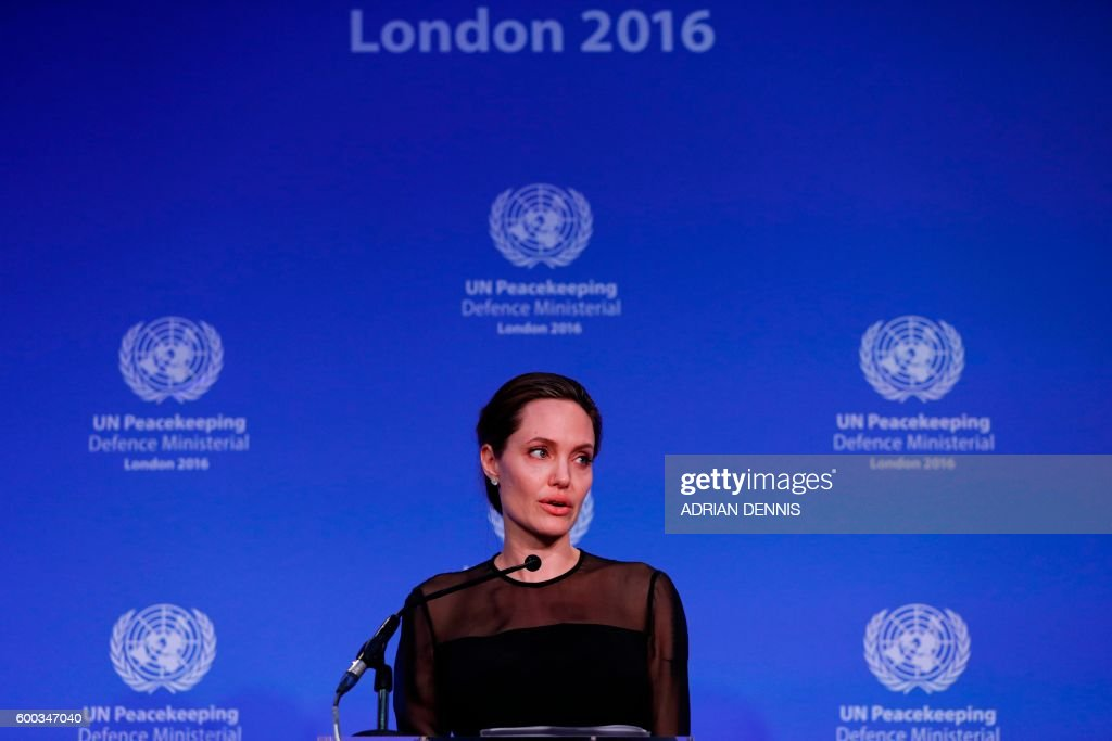 US actress and director and UN Special Envoy, Angelina Jolie, speaks at the UN Peacekeeping Defence Ministerial at Lancaster House in London on September 8, 2016. The meeting follows the Leaders Summit on Peacekeeping in September 2015. / AFP / POOL / Adrian DENNIS
