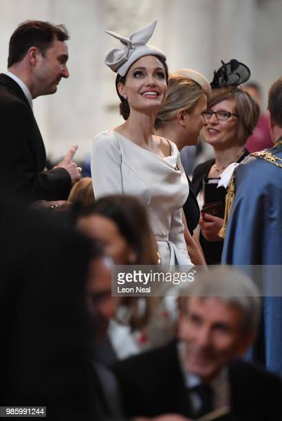Actress and director Angelina Jolie arrives ahead of the Order Of St George 200th Anniversary Service at St Paul's Cathedral on June 28 2018 in...