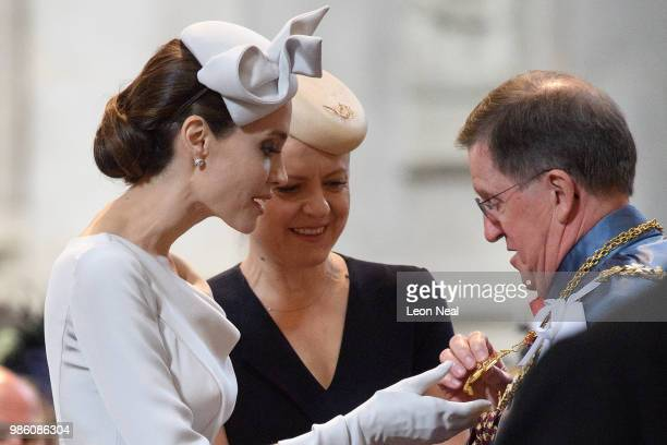 Actress and director Angelina Jolie arrives ahead of the Service of Commemoration and Dedication marking the 200th anniversary of the Most...