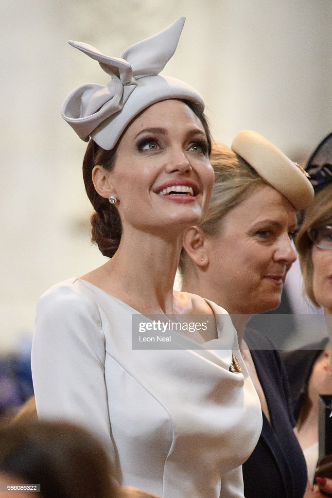 Actress and director Angelina Jolie arrives ahead of the Service of Commemoration and Dedication, marking the 200th anniversary of the Most Distinguished Order of St Michael and St George at St Paul's Cathedral on June 28, 2018 in London, England. The Order of St Michael and St George is awarded to men and women who hold high office or who render extraordinary or important non-military service in a foreign country, and can also be conferred for important or loyal service in relation to foreign and Commonwealth affairs. Britain's Queen Elizabeth II was due to attend the service but cancelled at late notice due to suffering from a slight illness.