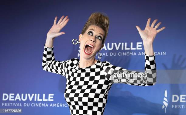 TOPSHOT US actress and director Dawn Luebbe poses during a photocall to present the film Greener Grass during the 45th US Film Festival in Deauville...