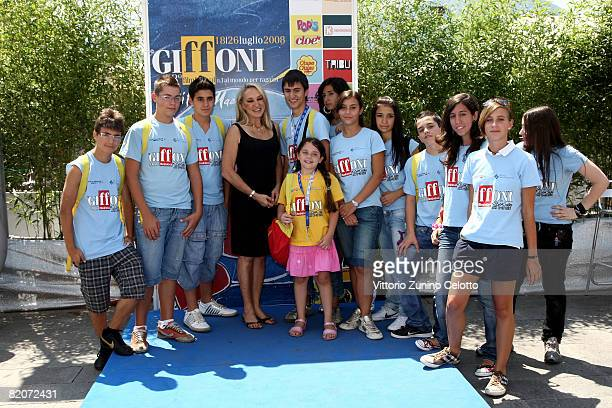 Actress and Director Eleonora Giorgi and the children of the jury attend the Giffoni Film Festival on July 26, 2008 in Giffoni, Italy.