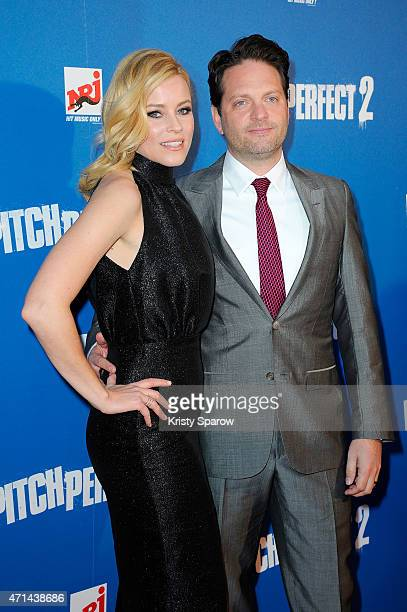 Actress and Director Elizabeth Banks and her husband Max Handelman attend the Pitch Perfect 2 Paris Premiere at UGC Cine Cite on April 28 2015 in...