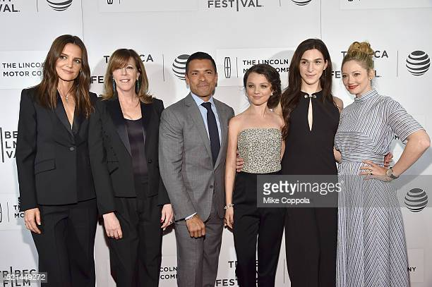 Actress and director Katie Holmes and Tribeca Festival CoFounder Jane Rosenthal actors Mark Consuelos Stefania LaVie Owen Eve Lindley and Judy Greer...