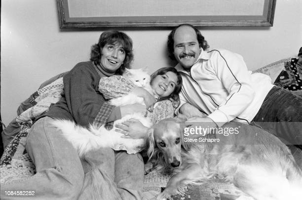 Actress and director Penny Marshall daughter Tracy Reiner and actor and director Rob Reiner smile for a portrait at home in Los Angeles California...