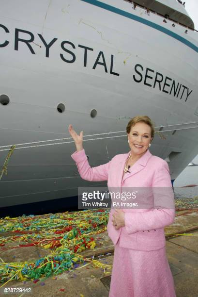 Actress and entertainer Dame Julie Andrews just after christening new luxury cruise ship Crystal Serinity in Portsmouth * Dame Julie sent one of only...