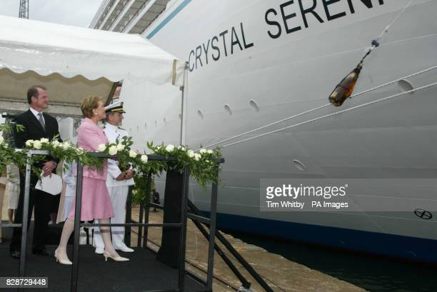 Actress and entertainer Dame Julie Andrews just after christening new luxury cruise ship Crytsal Serinity in Portsmouth Dame Julie sent one of only...