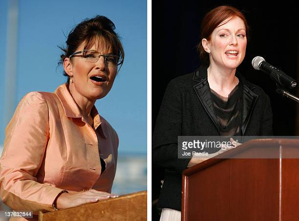 In this composite image a comparison has been made between Sarah Palin and actress Julianne Moore The TV film biopic 'Game Change' airing in 2012 in...
