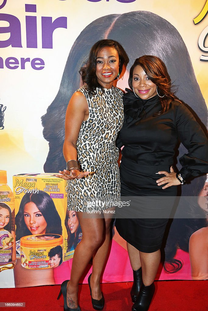 Actress and event host Tatyana Ali and celebrity hair stylist Tasheara Neshell attend the relaunch of MegaGrowth at 'The Mane Event' at King Plow Arts Center on April 11, 2013, in Atlanta, Georgia.