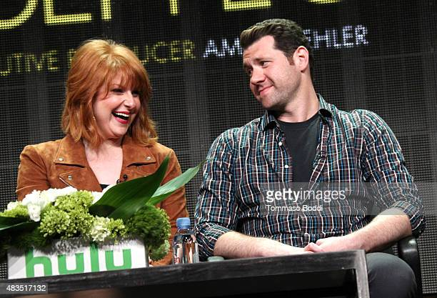 Actress and Executive Producer Julie Klausner and actor Billy Eichner speak onstage during the 'Difficult People' panel at the Hulu 2015 Summer TCA...
