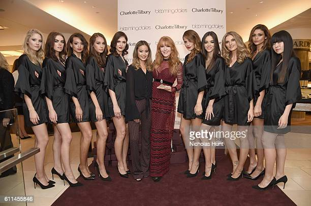 Actress and fashion blogger Jamie Chung and celebrity make up artist Charlotte Tilbury wearing a dress by Philosophy attend Charlotte Tilbury Launch...