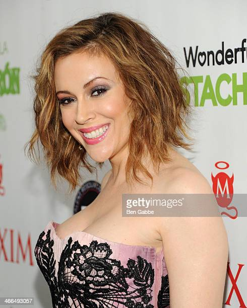 Actress and fashion designer Alyssa Milano attends MAXIM Magazine's Big Game Weekend Sponsored By AQUAhydrate on February 1 2014 in New York City