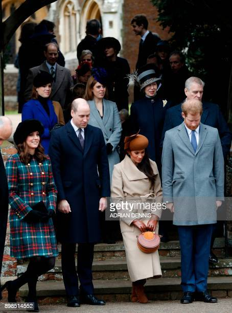 US actress and fiancee of Britain's Prince Harry Meghan Markle and Britain's Catherine Duchess of Cambridge curtsey flanked by Britain's Prince...