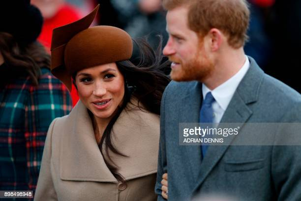 US actress and fiancee of Britain's Prince Harry Meghan Markle and Britain's Prince Harry arrive to attend the Royal Family's traditional Christmas...
