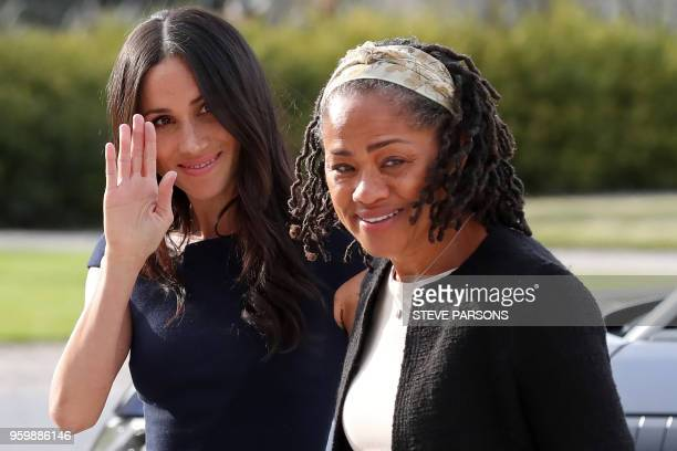 US actress and fiancee of Britain's Prince Harry Meghan Markle arrives with her mother Doria Ragland at Cliveden House hotel in the village of Taplow...
