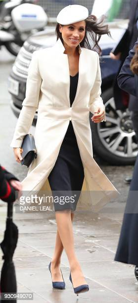 US actress and fiancee of Britain's Prince Harry Meghan Markle arrives to attend a Commonwealth Day Service at Westminster Abbey in central London on...