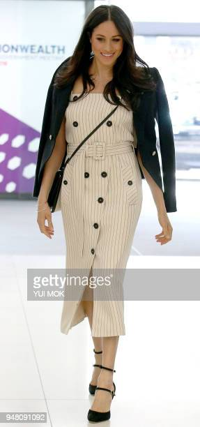 US actress and fiancee of Britain's Prince Harry Meghan Markle arrives to attend a reception with delegates from the Commonwealth Youth Forum in...
