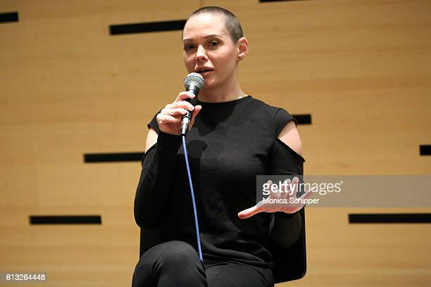 Actress and filmmaker Rose McGowan speaks at 54th New York Film Festival NYFF Live I Am Indie at Film Center Amphitheater in Lincoln Center on...