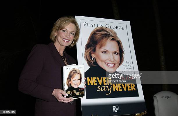 Actress and former CBS sportscaster Phyllis George poses at the signing of her new book Never Say Never at a reception given by the American Women in...