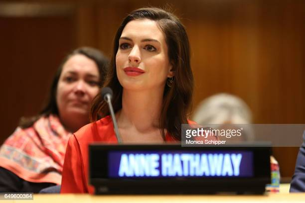 Actress and Global Goodwill Ambassador Anne Hathaway attends the 'Women in the Changing World of Work Planet 5050 by 2030' at 2017 International...