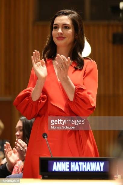 Actress and Global Goodwill Ambassador Anne Hathaway attends the Women in the Changing World of Work Planet 5050 by 2030 at 2017 International...