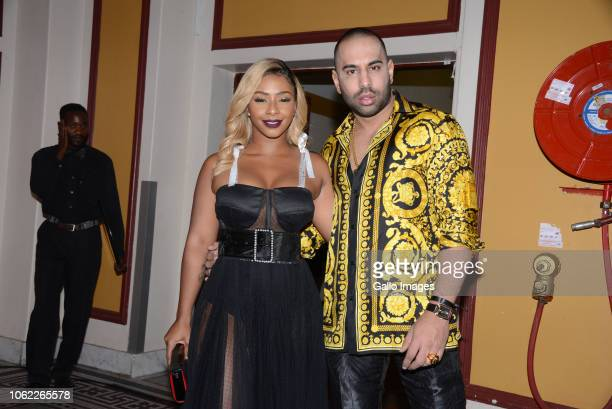 TV actress and Hip hop star Boity Thulo with Partner during the 10th annual Feather Awards at the Johannesburg City Hall on November 15 2018 in...