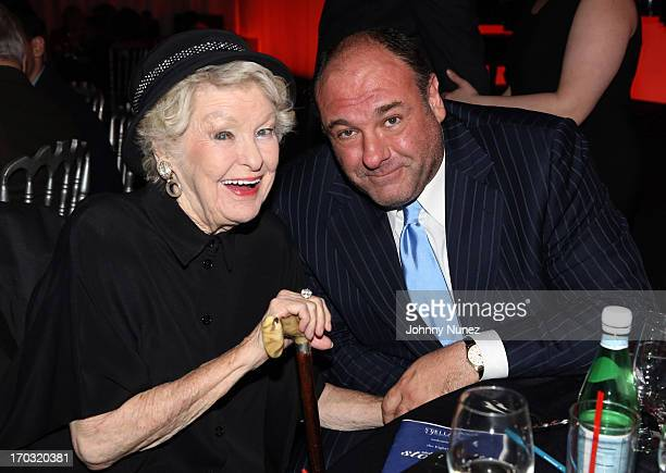 Actress and honoree Elaine Stritch and actor James Gandolfini attend the 8th Annual Stella By Starlight Benefit Gala at Espace on June 10 in New York...