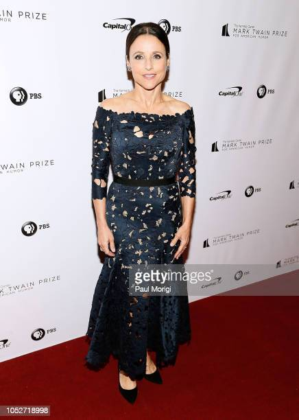 Actress and honoree Julia LouisDreyfus walks the red carpet at the 21st annual Mark Twain Prize for American Humor at The Kennedy Center on October...