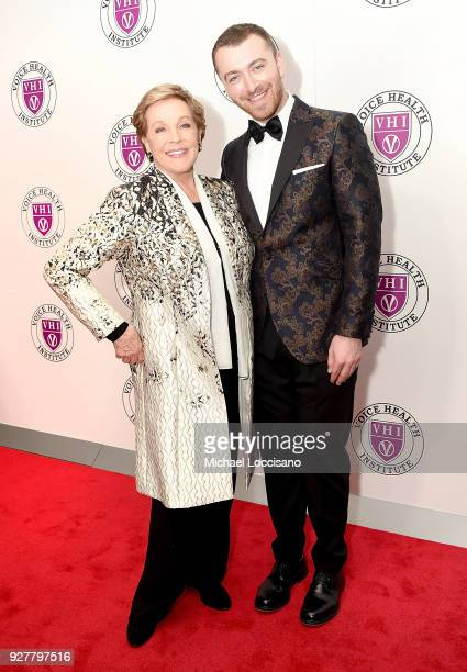 Actress and honoree Julie Andrews and singer Sam Smith attend the red carpet arrivals for the 'Raise Your Voice' concert at Alice Tully Hall Lincoln...