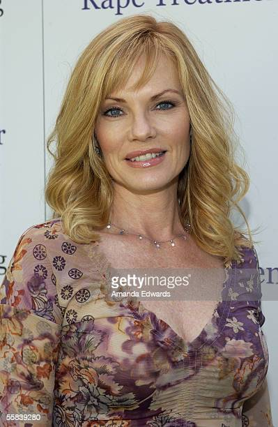 Actress and honoree Marg Helgenberger arrives at the Rape Foundation's Annual Brunch at the home of Ron Burkle on October 2 2005 in Beverly Hills...