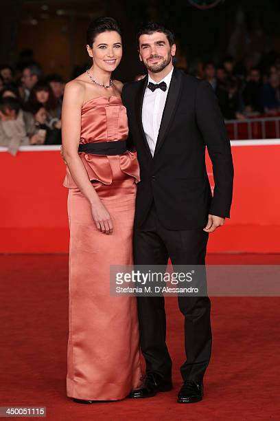 Actress and hostess Anna Foglietta and Paolo Sopranzetti attend the Award Ceremony Red Carpet during the 8th Rome Film Festival at the Auditorium...