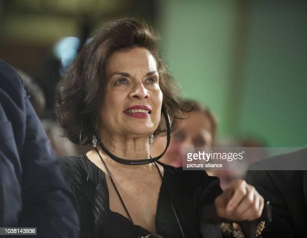 Actress and human rights activist Bianca Jagger listens to a speech during opening of the exhibition 'Ihrer Zeit voraus Visionaere Frauen im Einsatz...