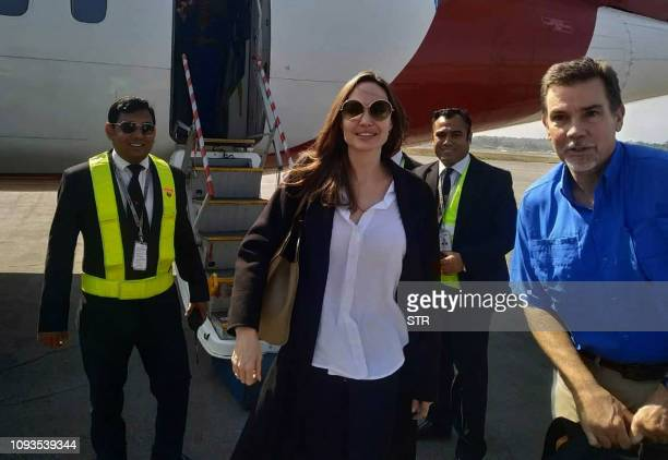 US actress and humanitarian Angelina Jolie a special envoy for the United Nations High Commissioner for Refugees arrives at the airport in Cox's...