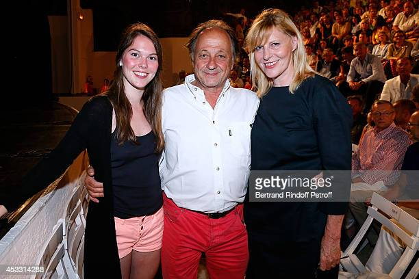 Actress and humorist Chantal Ladesou her husband Michel Ansault and their daughter Clemence Ansault attend the 30th Ramatuelle Festival Day 7 on...
