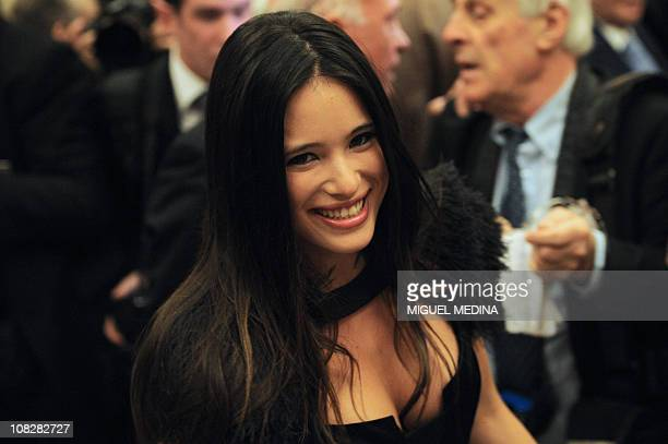 Actress and Itele presenter AnneSolenne Hatte arrives at the 2011 Scopus Award gala at the ChampsElysees Theatre on January 23 2011 in Paris French...