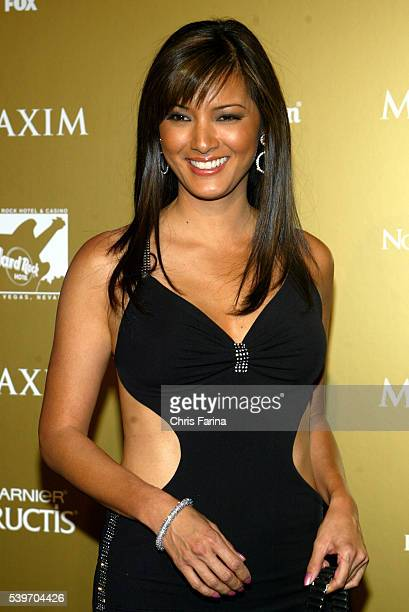 Actress and karate expert Kelly Hu arrives at the 2004 Maxim Magazine Hot 100 Party at the Hard Rock Hotel Casino