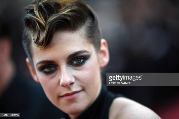 """Actress and member of the Feature Film Jury Kristen Stewart poses as she arrives on May 8, 2018 for the screening of the film """"Todos Lo Saben """" and..."""