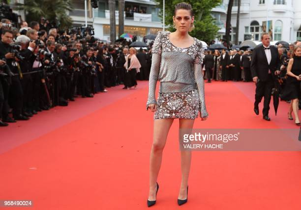 US actress and member of the Feature Film Jury Kristen Stewart poses as she arrives on May 14 2018 for the screening of the film 'BlacKkKlansman' at...