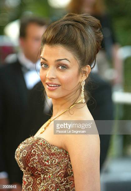 Actress and member of the Jury Aishwarya Rai arrives for the screening of the film 'Les Egares' at the Palais des Festivals during the 56th...