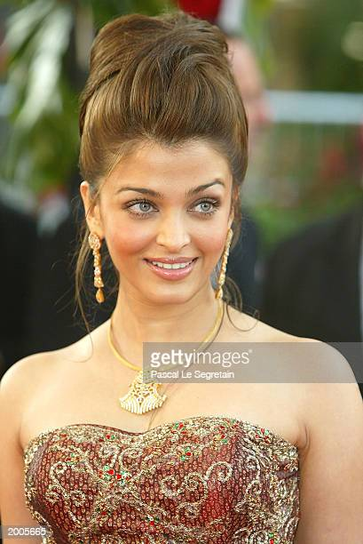 Actress and member of the Jury Aishwarya Rai arrives for the screening of the film Les Egares at the Palais des Festivals during the 56th...
