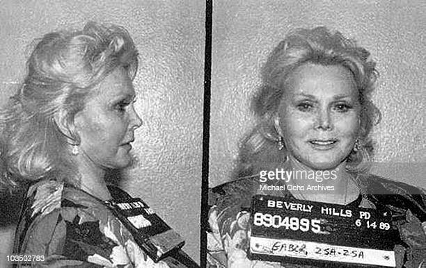 Actress and misdemeanant Zsa Zsa Gabor poses for a mug shot after being arrested for slapping a police officer on June 14 1989 in Beverly Hills...