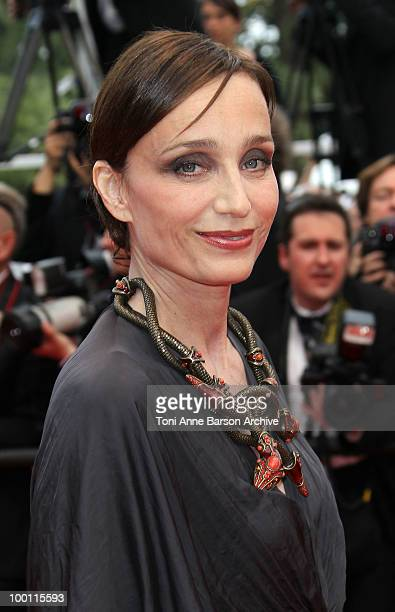 Actress and Mistress of Ceremony at Cannes Kristin Scott Thomas attends the 'Outside the Law' Premiere at the Palais des Festivals during the 63rd...