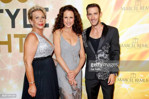 US actress and model Andie MacDowell with Marcel Remus and his mother Silke Remus during the Remus Lifestyle Night on August 3 2017 in Palma de...