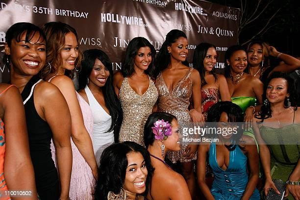 Actress and model Claudia Jordan poses with guests including Kim Kardashian actresssinger Porscha Coleman and actress Tanjareen Martin as they arrive...